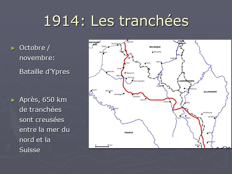1914: Les tranchées Octobre / novembre: Octobre / novembre: Bataille dYpres Après, 650 km de tranchées sont creusées entre la mer du nord et la Suisse Après, 650 km de tranchées sont creusées entre la mer du nord et la Suisse