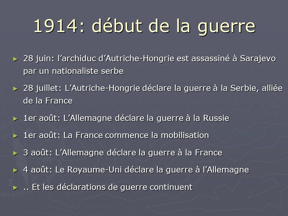 1914: début de la guerre 28 juin: larchiduc dAutriche-Hongrie est assassiné à Sarajevo par un nationaliste serbe 28 juin: larchiduc dAutriche-Hongrie est assassiné à Sarajevo par un nationaliste serbe 28 juillet: LAutriche-Hongrie déclare la guerre à la Serbie, alliée de la France 28 juillet: LAutriche-Hongrie déclare la guerre à la Serbie, alliée de la France 1er août: LAllemagne déclare la guerre à la Russie 1er août: LAllemagne déclare la guerre à la Russie 1er août: La France commence la mobilisation 1er août: La France commence la mobilisation 3 août: LAllemagne déclare la guerre à la France 3 août: LAllemagne déclare la guerre à la France 4 août: Le Royaume-Uni déclare la guerre à lAllemagne 4 août: Le Royaume-Uni déclare la guerre à lAllemagne..