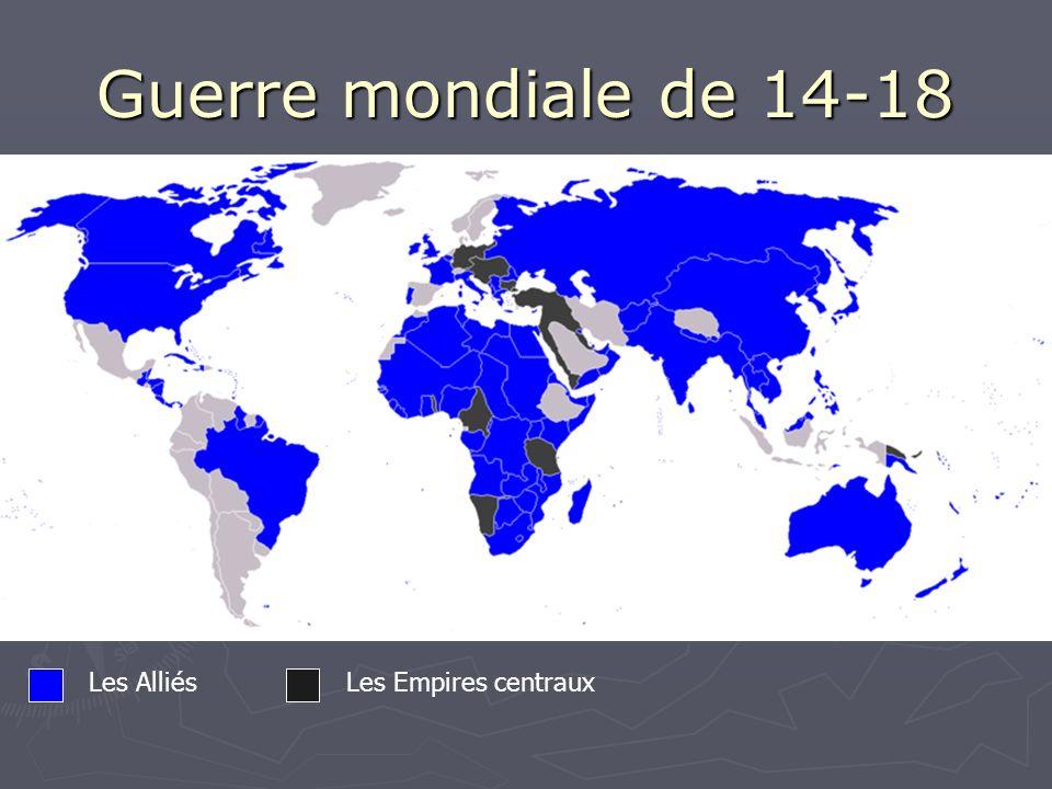 Guerre mondiale de 14-18 Les AlliésLes Empires centraux