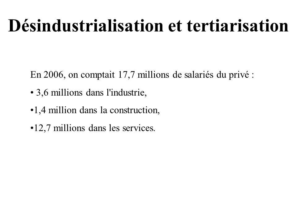 Désindustrialisation et tertiarisation En 2006, on comptait 17,7 millions de salariés du privé : 3,6 millions dans l industrie, 1,4 million dans la construction, 12,7 millions dans les services.