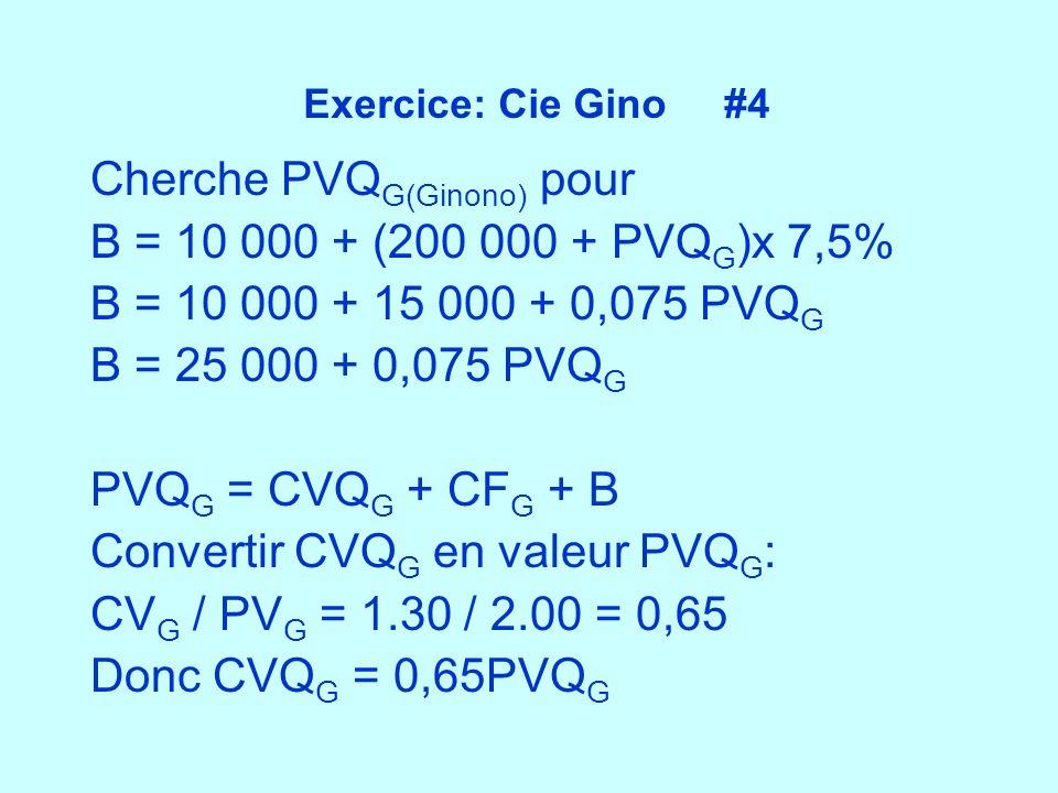 Exercice: Cie Gino #4 Cherche PVQ G(Ginono) pour B = 10 000 + (200 000 + PVQ G )x 7,5% B = 10 000 + 15 000 + 0,075 PVQ G B = 25 000 + 0,075 PVQ G PVQ