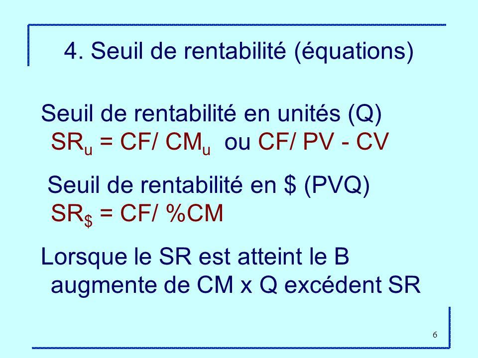 6 4. Seuil de rentabilité (équations) Seuil de rentabilité en unités (Q) SR u = CF/ CM u ou CF/ PV - CV Seuil de rentabilité en $ (PVQ) SR $ = CF/ %CM
