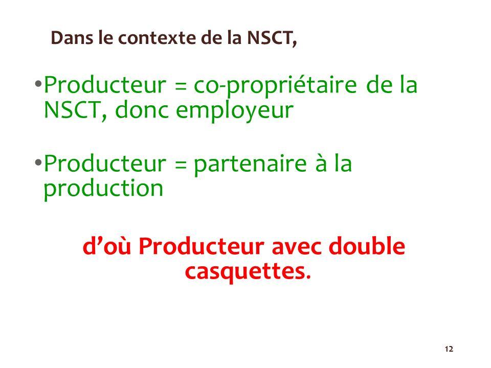 12 Dans le contexte de la NSCT, Producteur = co-propriétaire de la NSCT, donc employeur Producteur = partenaire à la production doù Producteur avec do