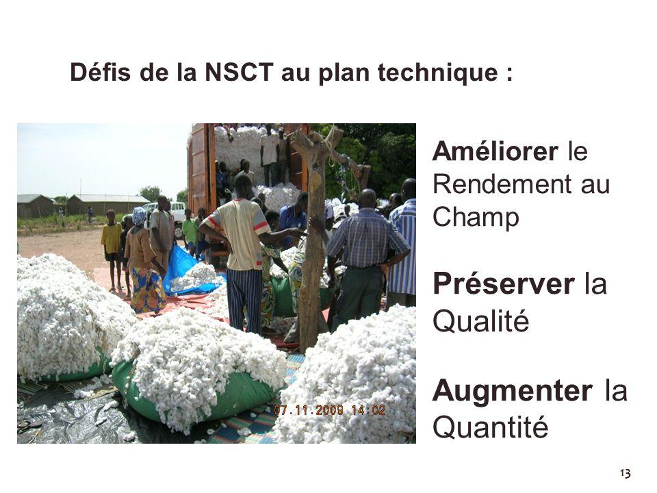 13 Défis de la NSCT au plan technique : Améliorer le Rendement au Champ Préserver la Qualité Augmenter la Quantité