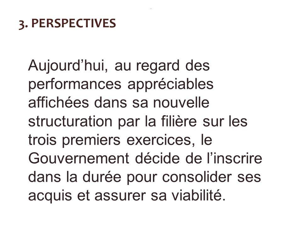 3. PERSPECTIVES Aujourdhui, au regard des performances appréciables affichées dans sa nouvelle structuration par la filière sur les trois premiers exe
