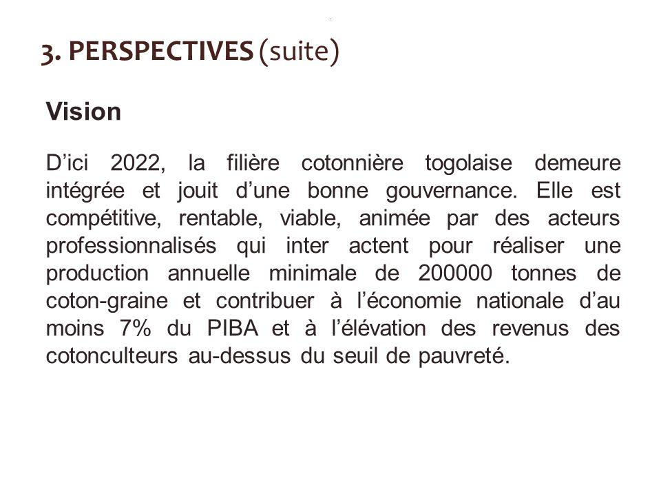 3. PERSPECTIVES (suite) Vision Dici 2022, la filière cotonnière togolaise demeure intégrée et jouit dune bonne gouvernance. Elle est compétitive, rent