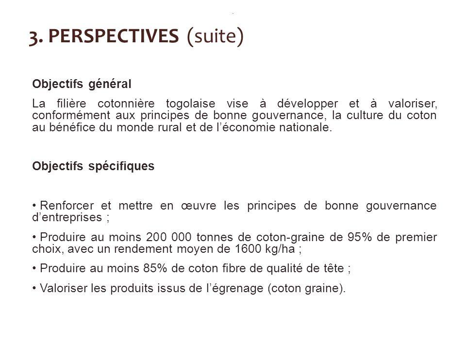 3. PERSPECTIVES (suite) Objectifs général La filière cotonnière togolaise vise à développer et à valoriser, conformément aux principes de bonne gouver