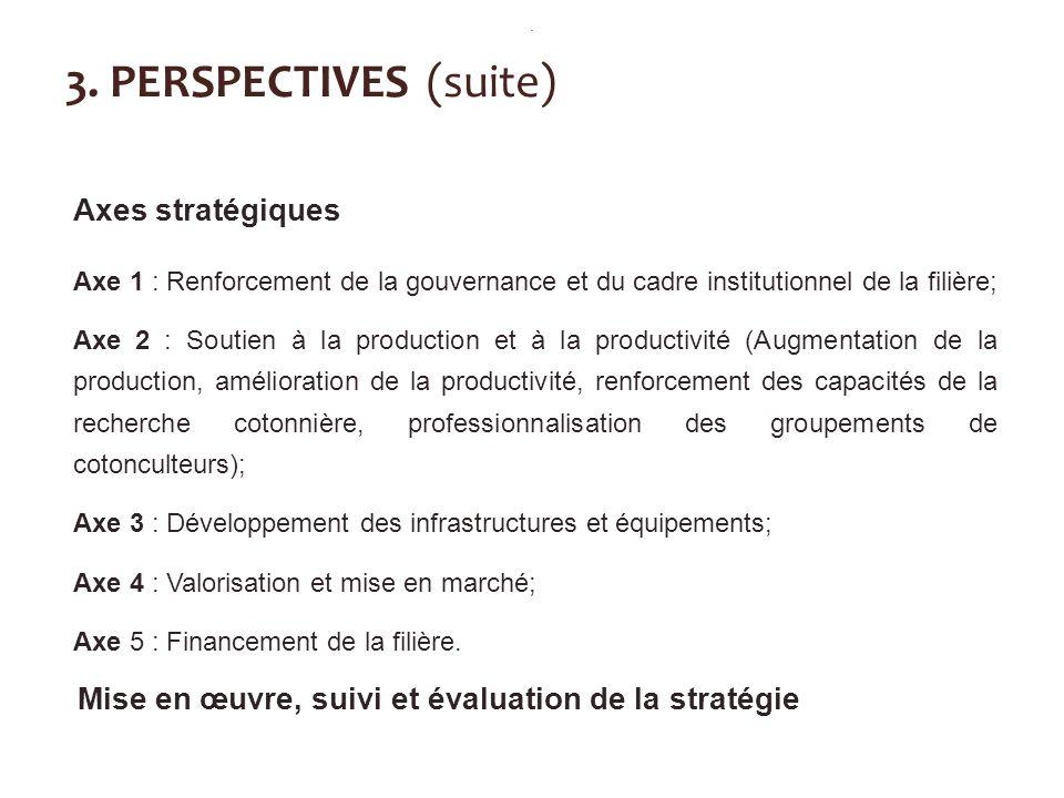 3. PERSPECTIVES (suite) Axes stratégiques Axe 1 : Renforcement de la gouvernance et du cadre institutionnel de la filière; Axe 2 : Soutien à la produc
