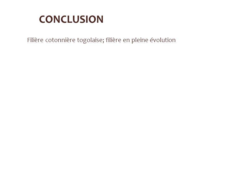 CONCLUSION Filière cotonnière togolaise; filière en pleine évolution