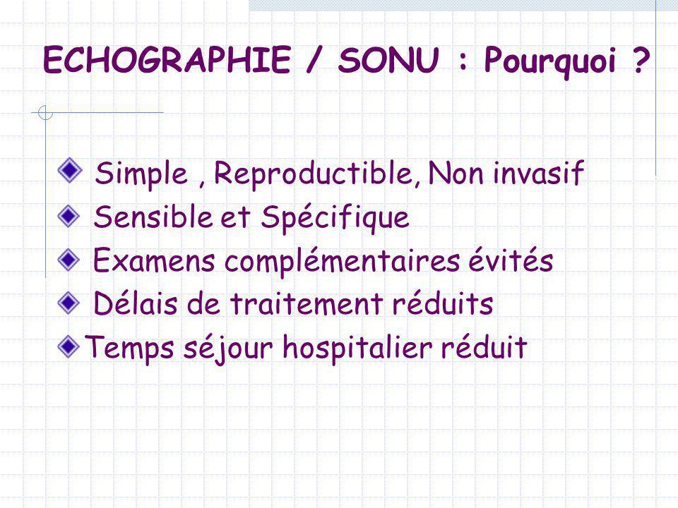 ECHOGRAPHIE / SONU : Pourquoi ? Simple, Reproductible, Non invasif Sensible et Spécifique Examens complémentaires évités Délais de traitement réduits