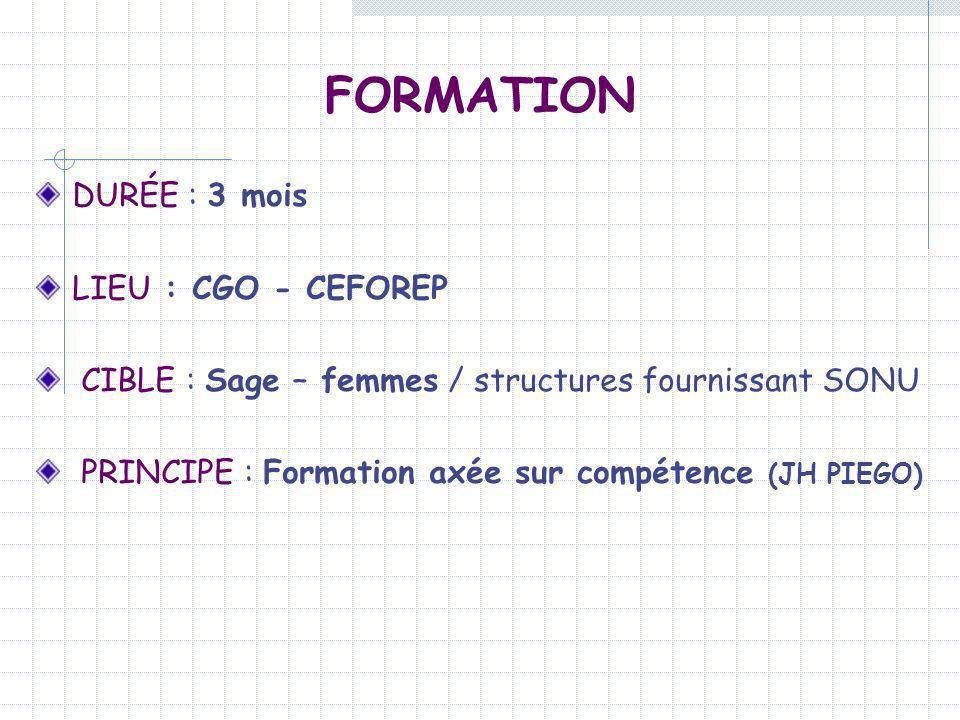 DURÉE : 3 mois LIEU : CGO - CEFOREP CIBLE : Sage – femmes / structures fournissant SONU PRINCIPE : Formation axée sur compétence (JH PIEGO) FORMATION