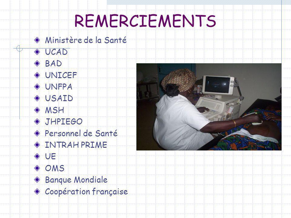 REMERCIEMENTS Ministère de la Santé UCAD BAD UNICEF UNFPA USAID MSH JHPIEGO Personnel de Santé INTRAH PRIME UE OMS Banque Mondiale Coopération françai