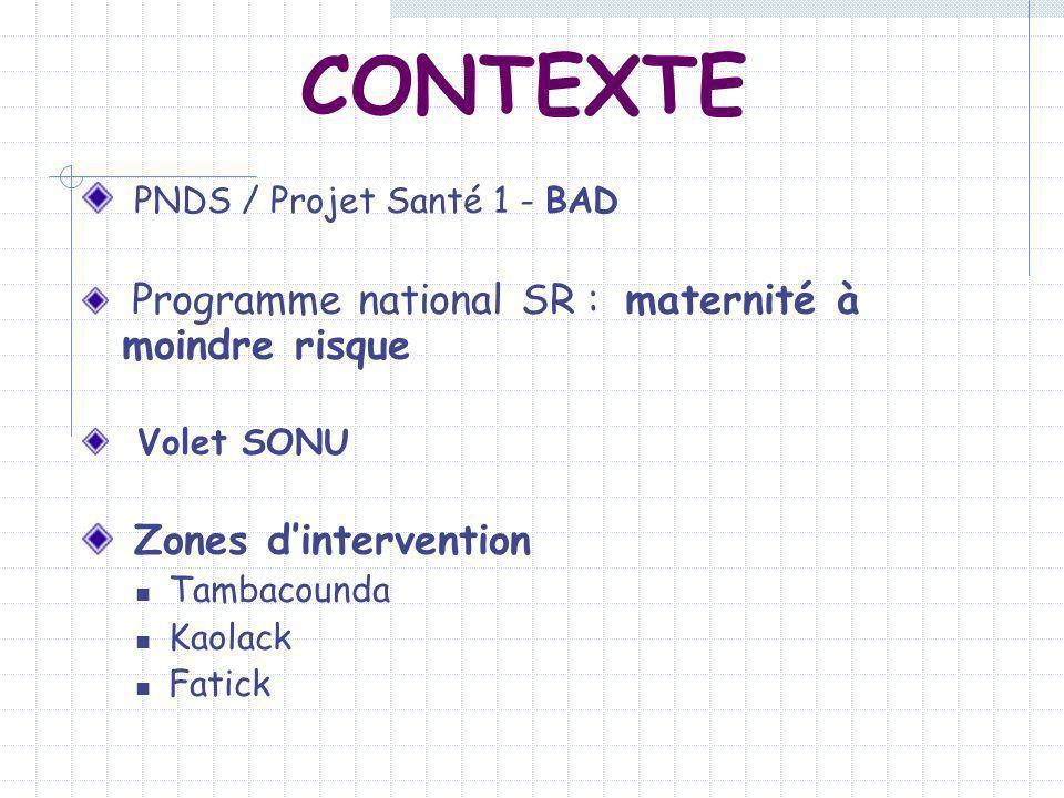 CONTEXTE PNDS / Projet Santé 1 - BAD Programme national SR : maternité à moindre risque Volet SONU Zones dintervention Tambacounda Kaolack Fatick