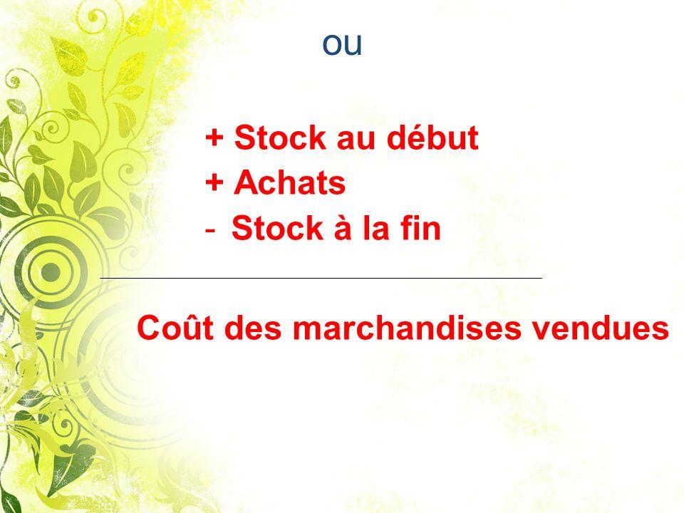 ou + Stock au début + Achats - Stock à la fin Coût des marchandises vendues