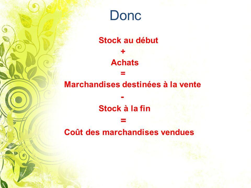 Donc Stock au début + Achats = Marchandises destinées à la vente - Stock à la fin = Coût des marchandises vendues