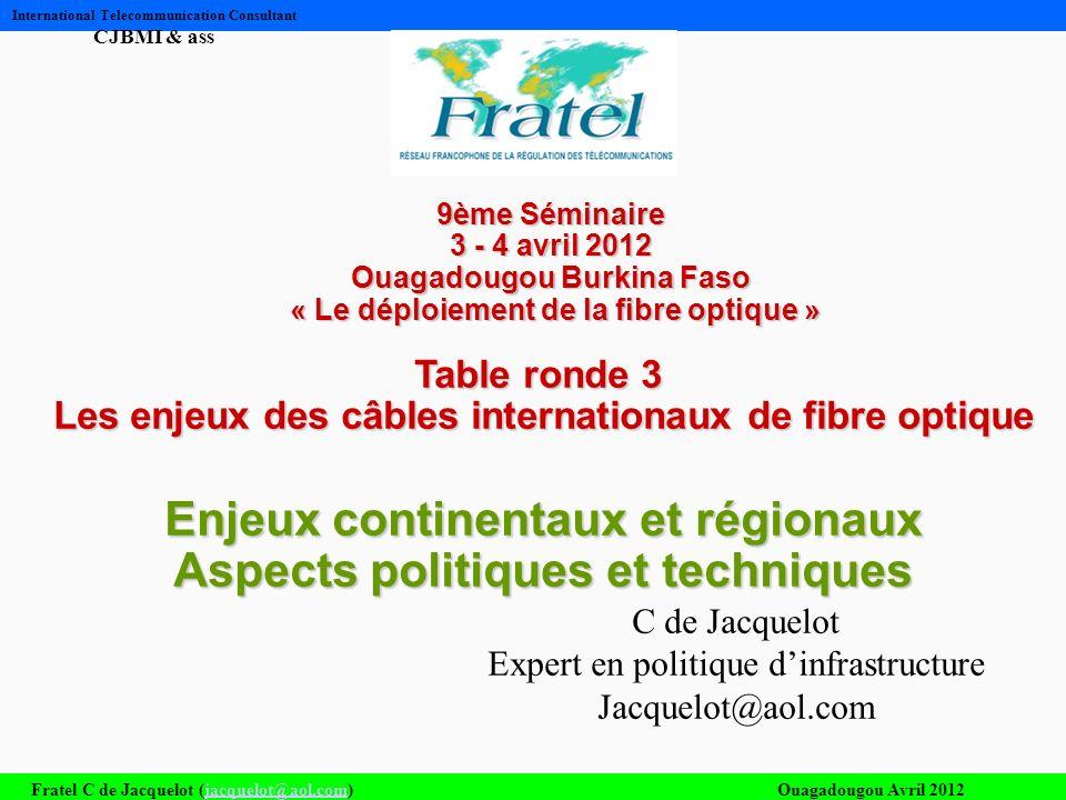Fratel C de Jacquelot (jacquelot@aol.com)Ouagadougou Avril 2012jacquelot@aol.com International Telecommunication Consultant CJBMI & ass 9ème Séminaire