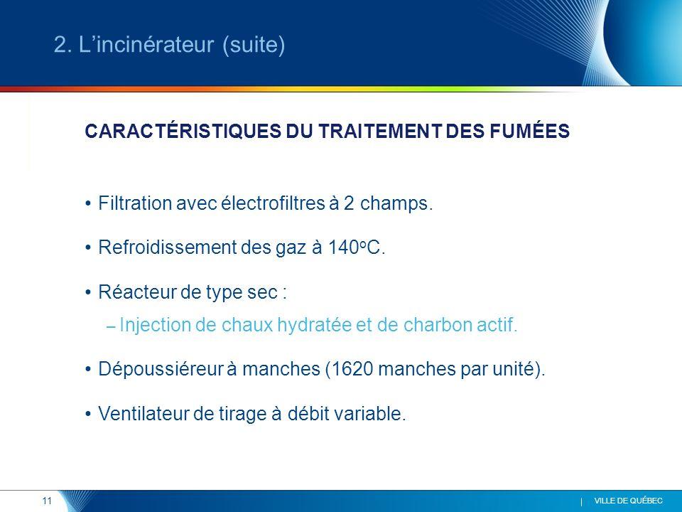 11 VILLE DE QUÉBEC Filtration avec électrofiltres à 2 champs. Refroidissement des gaz à 140 o C. Réacteur de type sec : – Injection de chaux hydratée