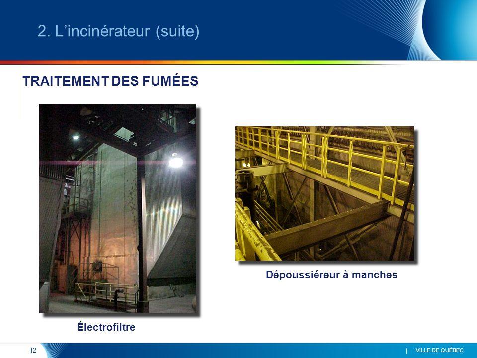 12 VILLE DE QUÉBEC Électrofiltre Dépoussiéreur à manches TRAITEMENT DES FUMÉES 2. Lincinérateur (suite)