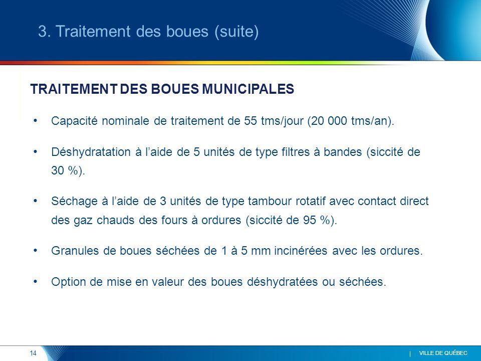 14 VILLE DE QUÉBEC Capacité nominale de traitement de 55 tms/jour (20 000 tms/an). Déshydratation à laide de 5 unités de type filtres à bandes (siccit