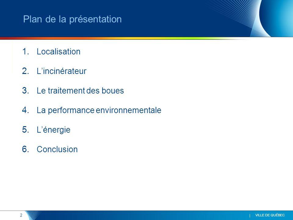 2 VILLE DE QUÉBEC Plan de la présentation 1. Localisation 2. Lincinérateur 3. Le traitement des boues 4. La performance environnementale 5. Lénergie 6