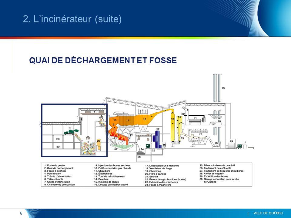 6 VILLE DE QUÉBEC QUAI DE DÉCHARGEMENT ET FOSSE 2. Lincinérateur (suite)