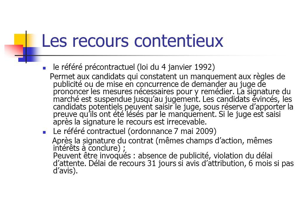 Les recours contentieux le référé précontractuel (loi du 4 janvier 1992) Permet aux candidats qui constatent un manquement aux règles de publicité ou