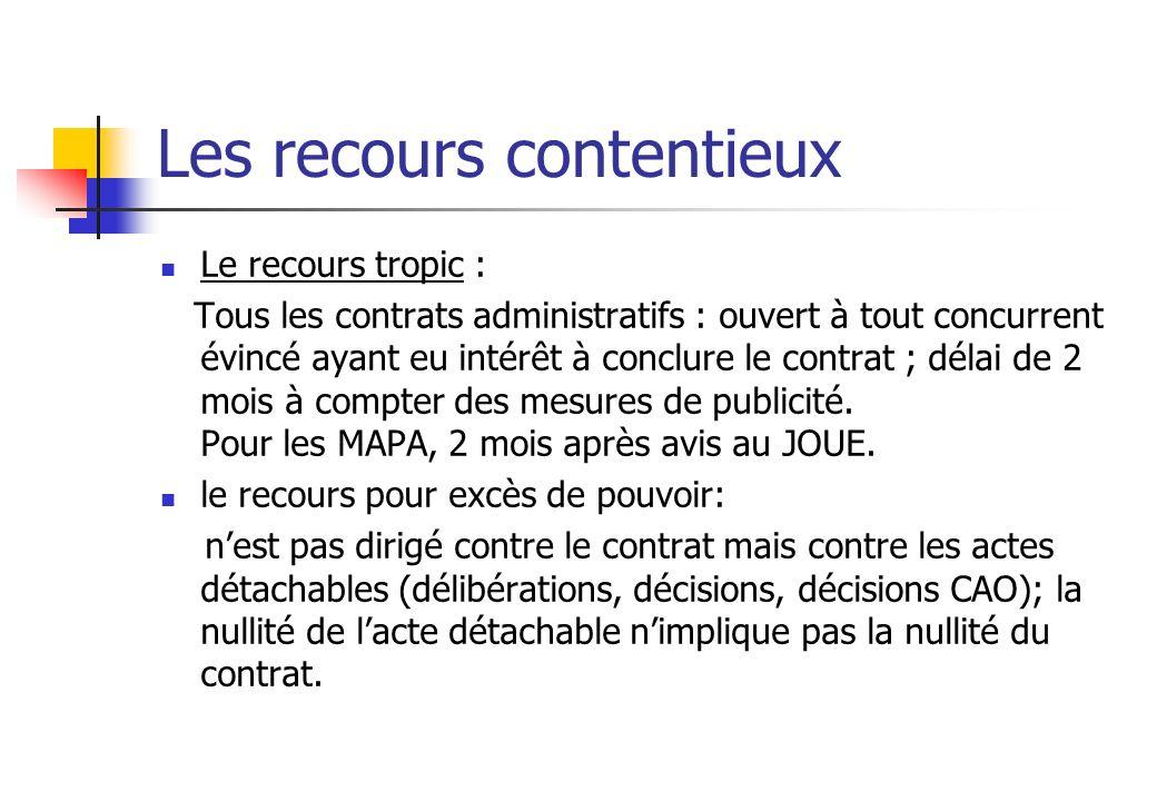 Les recours contentieux Le recours tropic : Tous les contrats administratifs : ouvert à tout concurrent évincé ayant eu intérêt à conclure le contrat