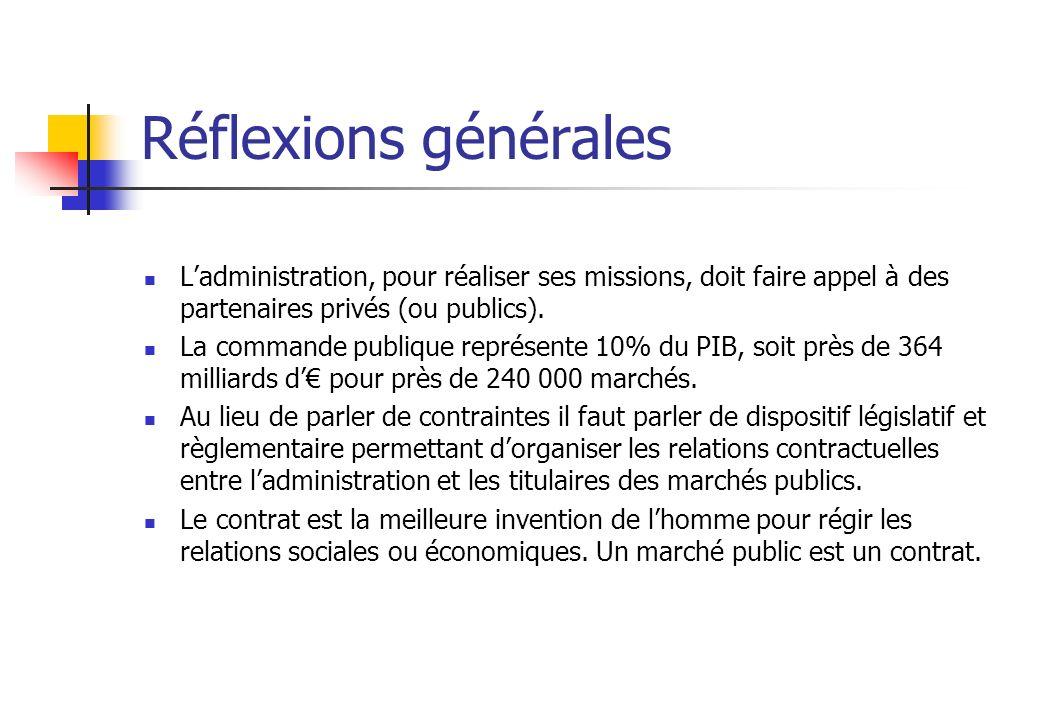 Réflexions générales Ladministration, pour réaliser ses missions, doit faire appel à des partenaires privés (ou publics). La commande publique représe