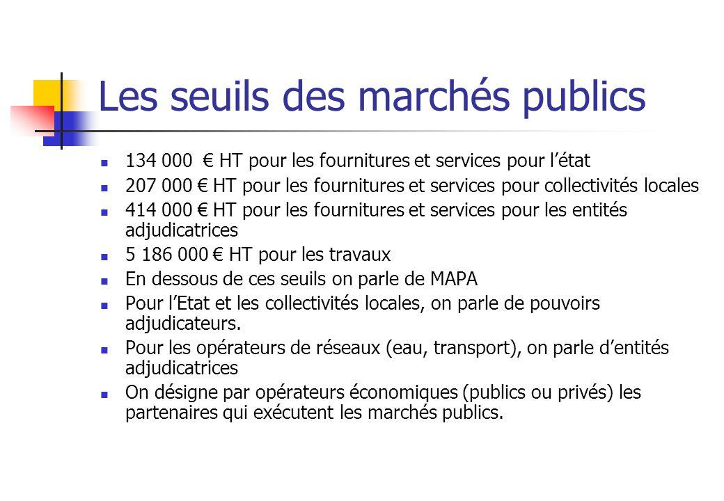 Les seuils des marchés publics 134 000 HT pour les fournitures et services pour létat 207 000 HT pour les fournitures et services pour collectivités l