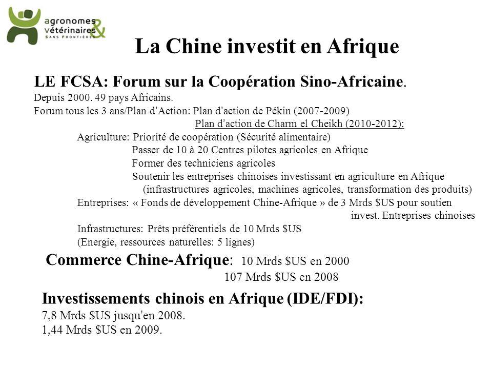 La Chine investit en Afrique LE FCSA: Forum sur la Coopération Sino-Africaine. Depuis 2000. 49 pays Africains. Forum tous les 3 ans/Plan dAction: Plan