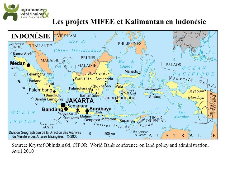 Les projets MIFEE et Kalimantan en Indonésie Source: Krystof Obindzinski, CIFOR. World Bank conference on land policy and administration, Avril 2010