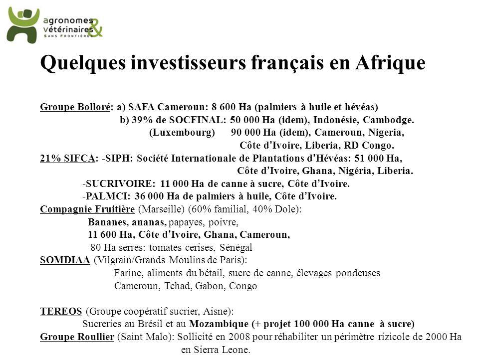 Quelques investisseurs français en Afrique Groupe Bolloré: a) SAFA Cameroun: 8 600 Ha (palmiers à huile et hévéas) b) 39% de SOCFINAL: 50 000 Ha (idem