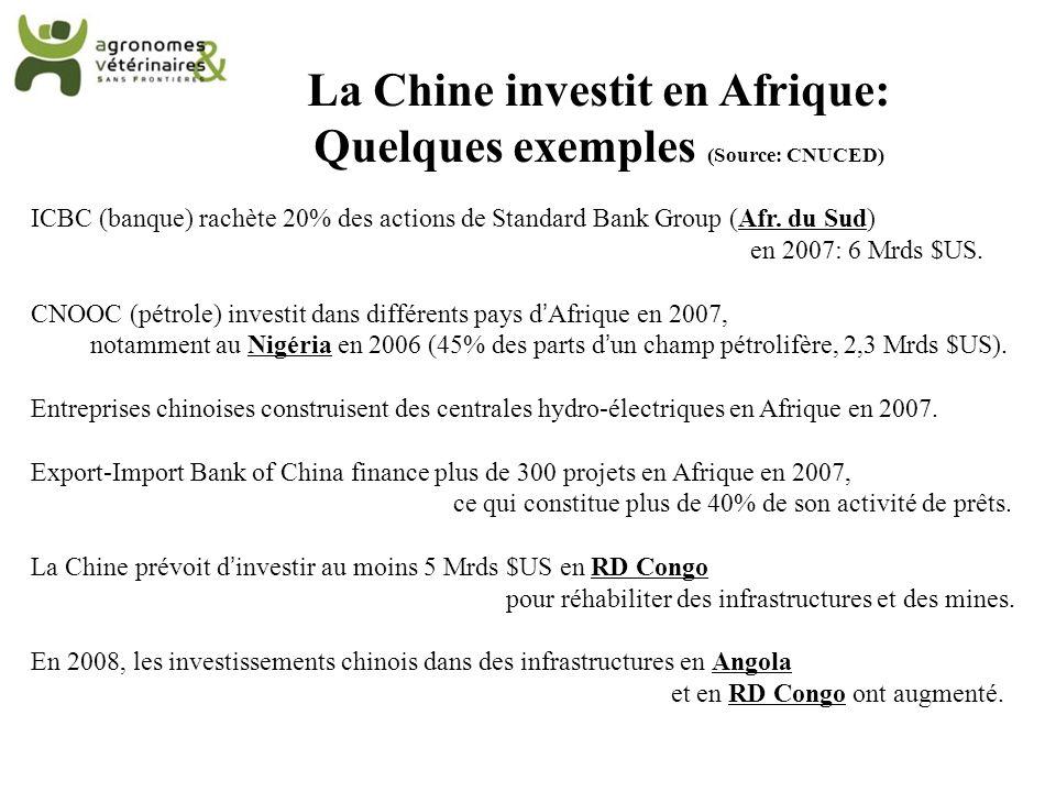 La Chine investit en Afrique: Quelques exemples (Source: CNUCED) ICBC (banque) rachète 20% des actions de Standard Bank Group (Afr. du Sud) en 2007: 6