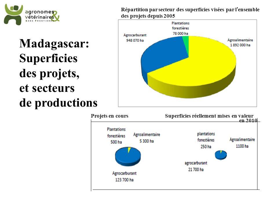 Projets en coursSuperficies réellement mises en valeur en 2010 Répartition par secteur des superficies visées par lensemble des projets depuis 2005 Ma