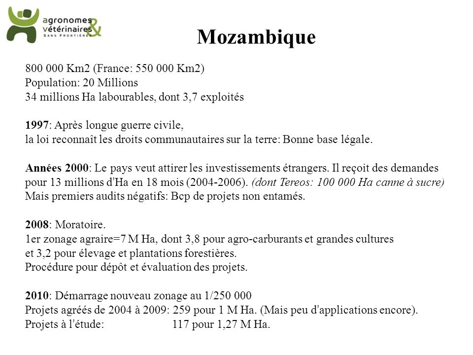 Mozambique 800 000 Km2 (France: 550 000 Km2) Population: 20 Millions 34 millions Ha labourables, dont 3,7 exploités 1997: Après longue guerre civile,
