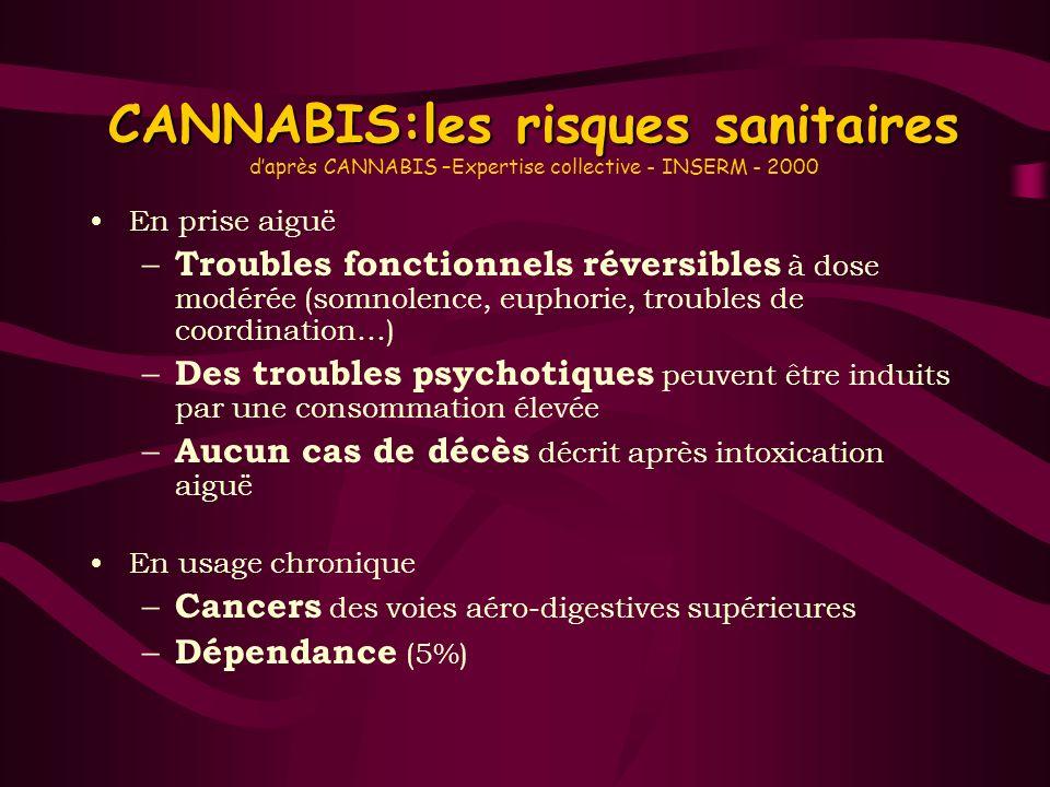 CANNABIS:les risques sanitaires CANNABIS:les risques sanitaires daprès CANNABIS –Expertise collective - INSERM - 2000 En prise aiguë – Troubles foncti