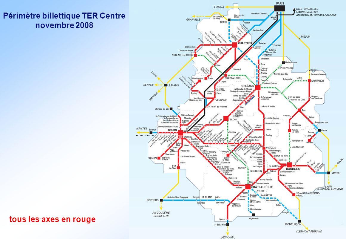 Périmètre billettique TER Centre novembre 2008 tous les axes en rouge