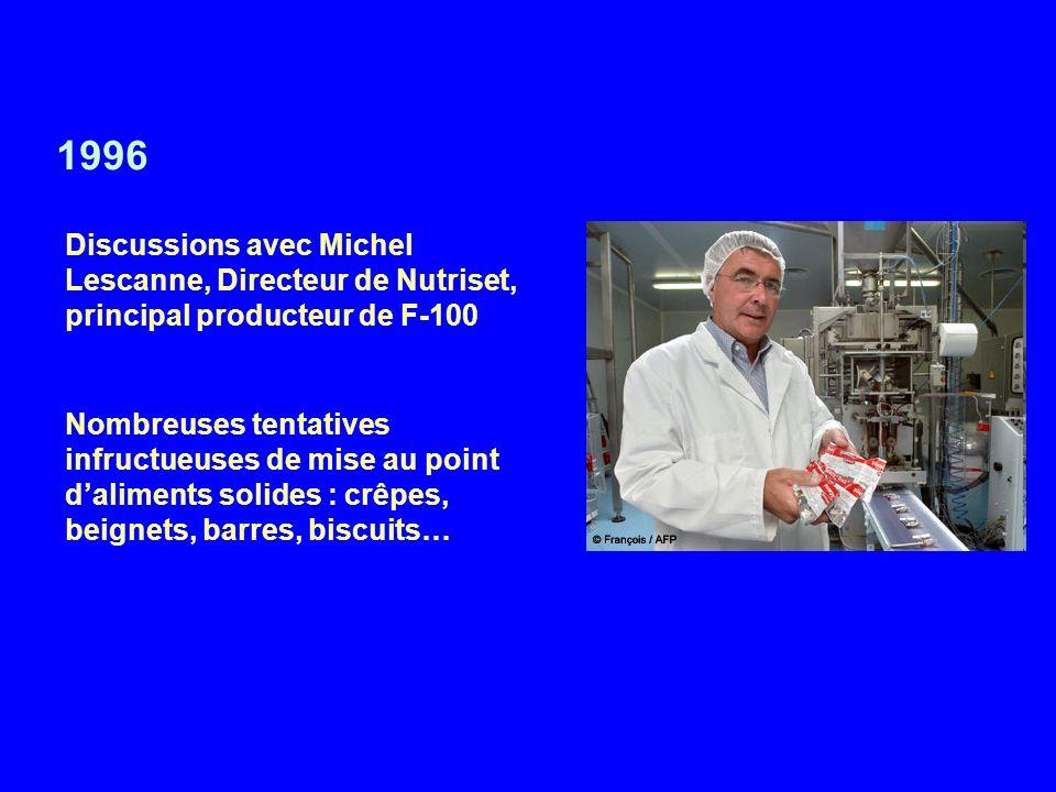 1996 Discussions avec Michel Lescanne, Directeur de Nutriset, principal producteur de F-100 Nombreuses tentatives infructueuses de mise au point dalim