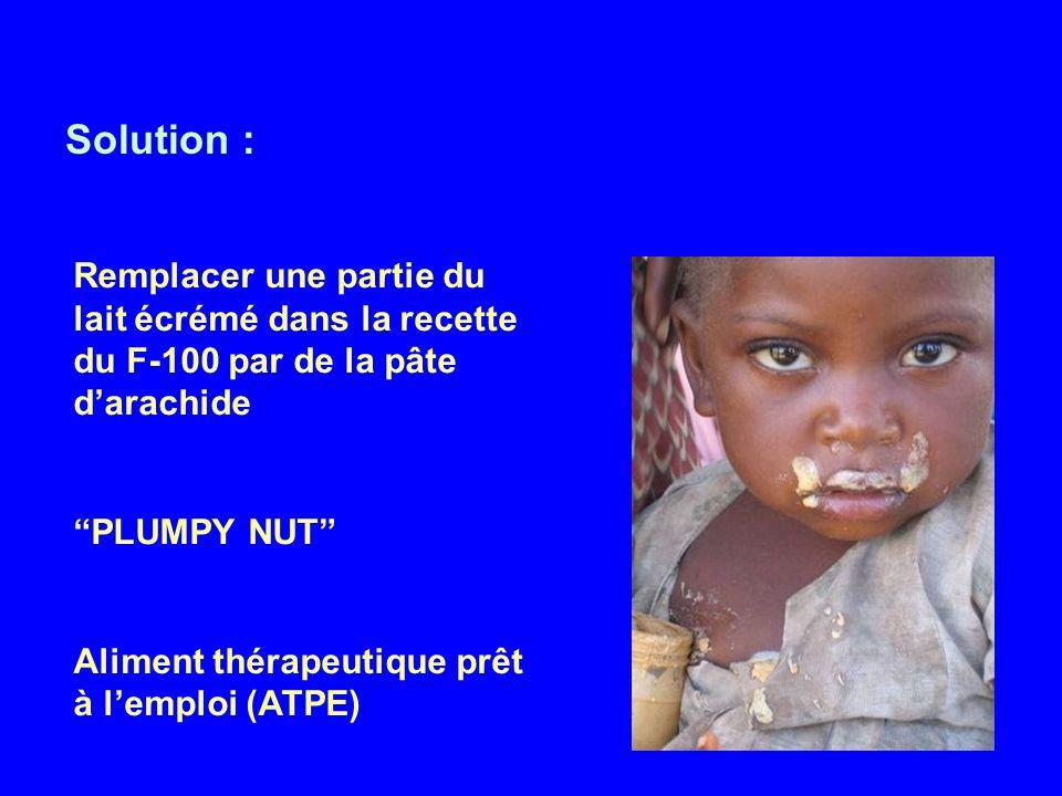 Solution : Remplacer une partie du lait écrémé dans la recette du F-100 par de la pâte darachide PLUMPY NUT Aliment thérapeutique prêt à lemploi (ATPE