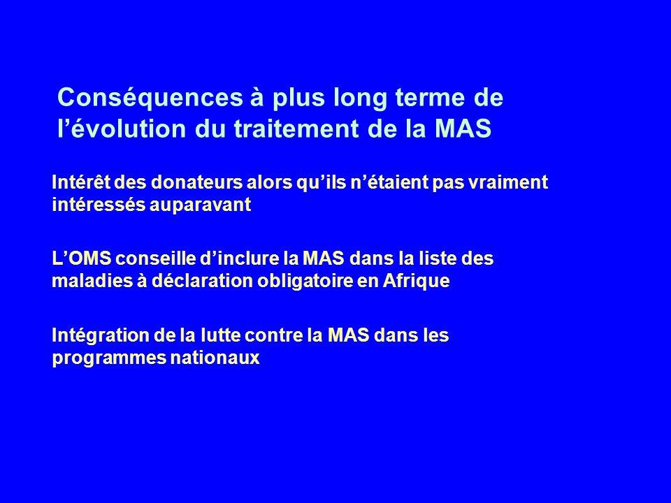 Intérêt des donateurs alors quils nétaient pas vraiment intéressés auparavant LOMS conseille dinclure la MAS dans la liste des maladies à déclaration