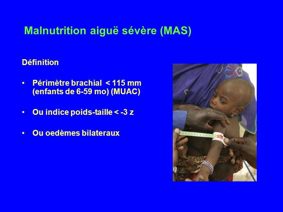 Malnutrition aiguë sévère (MAS) Définition Périmètre brachial < 115 mm (enfants de 6-59 mo) (MUAC) Ou indice poids-taille < -3 z Ou oedèmes bilateraux