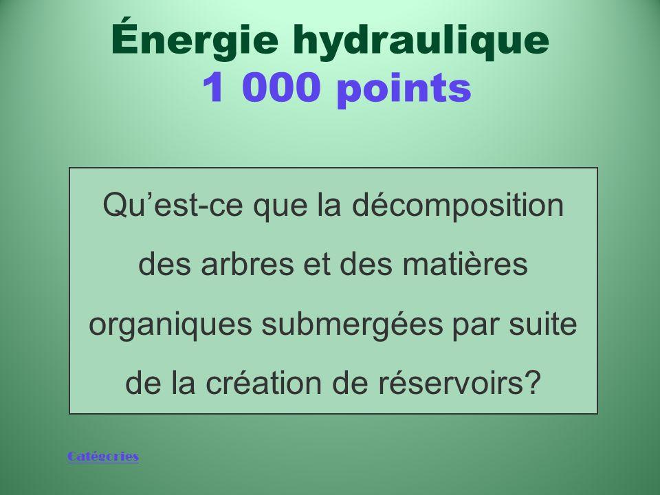 Catégories Phénomène à lorigine de certains gaz à effet de serre attribuables aux barrages hydroélectriques Énergie hydraulique 1 000 points