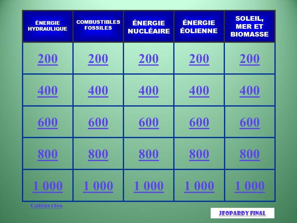 Catégories 1 000 800 600 400 200 JeopardyJeopardy Final SOLEIL, MER ET BIOMASSE ÉNERGIE ÉOLIENNE ÉNERGIE NUCLÉAIRE COMBUSTIBLES FOSSILES ÉNERGIE HYDRAULIQUE