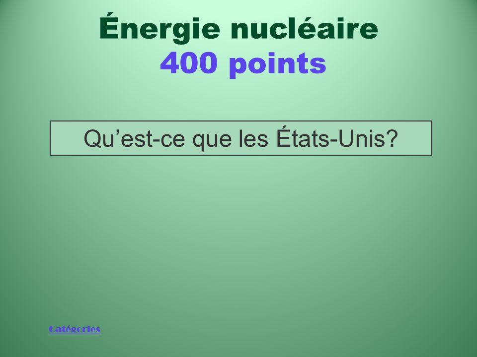 Catégories Pays qui possède le parc nucléaire le plus puissant du monde Énergie nucléaire 400 points