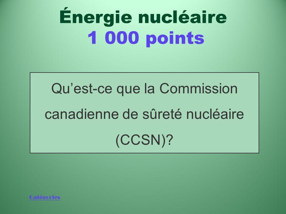 Catégories Organisation canadienne dont les membres prennent les décisions et élaborent les politiques concernant lénergie nucléaire Énergie nucléaire 1 000 points