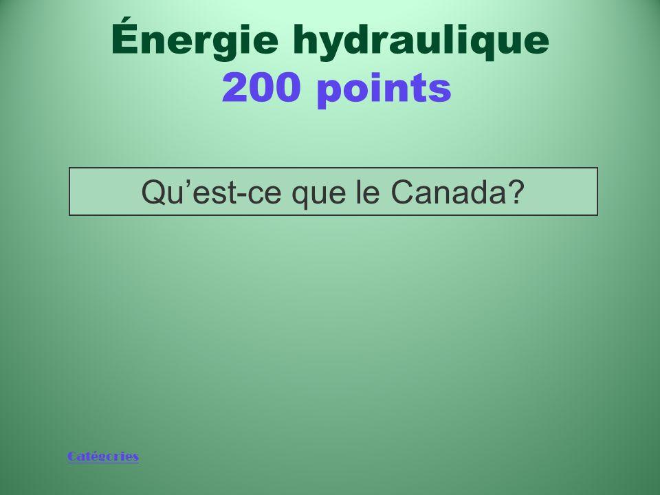Catégories Quest-ce que le Canada? Énergie hydraulique 200 points