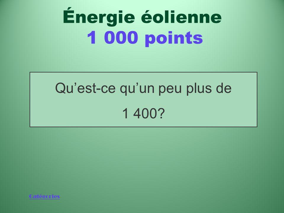 Catégories Nombre de mégawatts produits par le Canada à partir dénergie éolienne Énergie éolienne 1 000 points