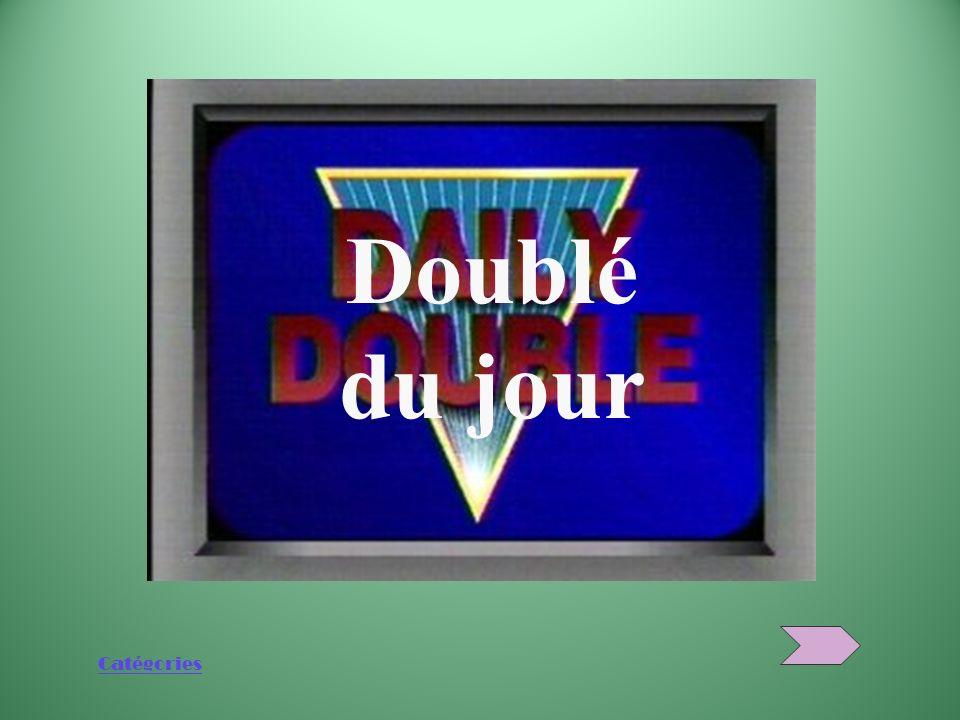 Catégories … et merci davoir joué à Jeopardy! Félicitations Léquipe gagnante est...
