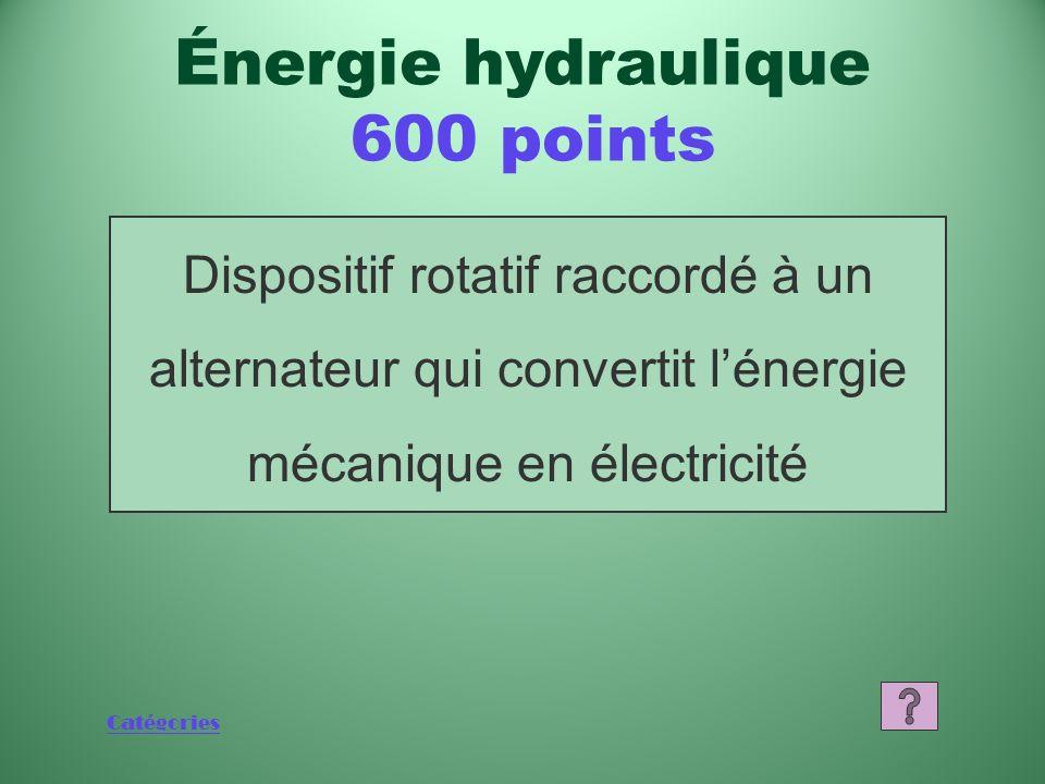 Catégories Dispositif rotatif raccordé à un alternateur qui convertit lénergie mécanique en électricité Énergie hydraulique 600 points