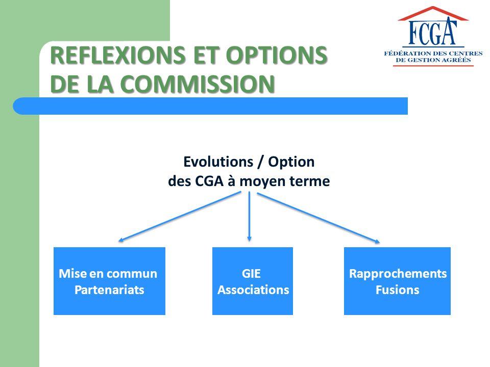 REFLEXIONS ET OPTIONS DE LA COMMISSION Mise en commun Partenariats GIE Associations Rapprochements Fusions Evolutions / Option des CGA à moyen terme